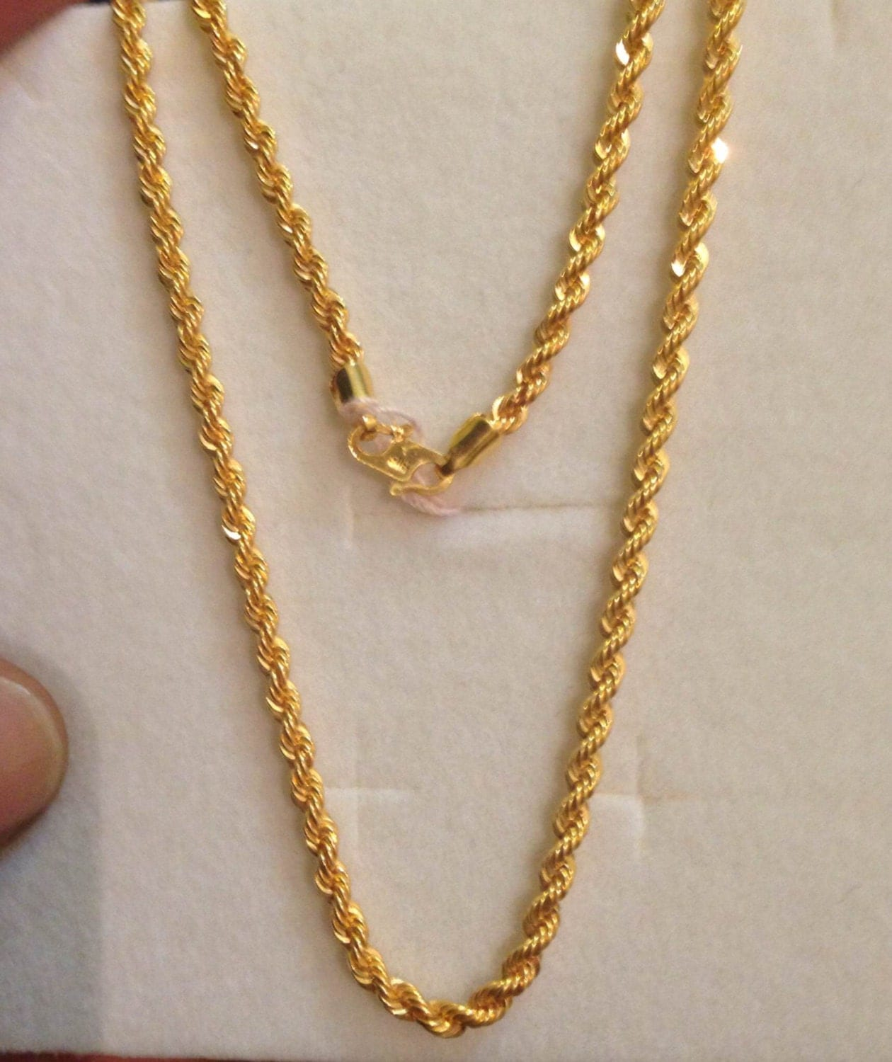 23 Long Rope Chain 22k Solid Gold 22ct Pure Gold By