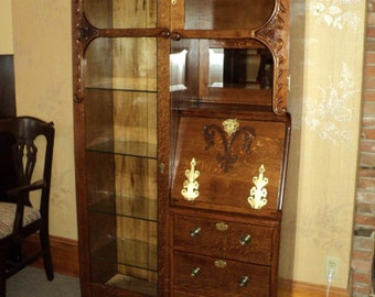 "Oak ""Cowboy Style"" Side by Side Desk/Bookcase/Display Cabinet, On Sale!"