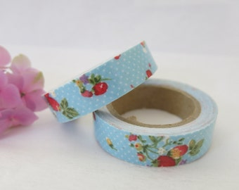 Blue Floral Fabric Tape / Adhesive Decoration Fabric Tape  FT026
