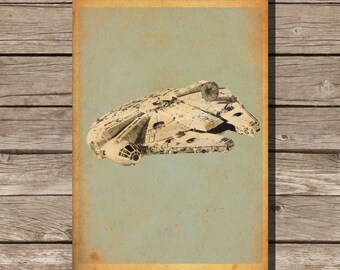 Star Wars vehicle movie poster minimalist poster star wars art Millennium Falcon