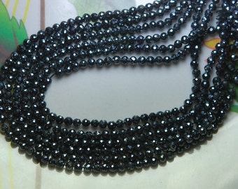 20 x 13.5 Inch Strands,New Mystic Black Spinel Micre Faceted Rondelles, Size 3mm