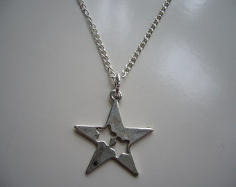 Star Necklace - Antique Silver Star Necklace - Star Pendant Charm Necklace-  Star- Nickel Free
