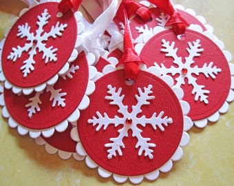Christmas Gift Tags, Christmas Tags, Christmas Favor Tags, Christmas Hang Tags, Holiday Gift Tags, Snowflake Gift Tags