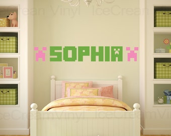 Popular items for minecraft wall decal on etsy for Awesome minecraft vinyl wall decals