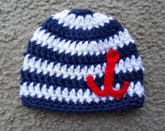 Sailor Beanie. Available in Sizes: Newborn, 0-3 Months, 3-6 Months, 6-9 Months, 9-12 Months.