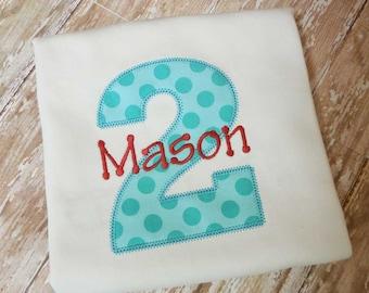 Boys or Girls  First Birthday Shirt, Birthday Number Shirt, Birthday Gift, Custom Fabrics, Colors, and Font, Girls Birthday Shirt