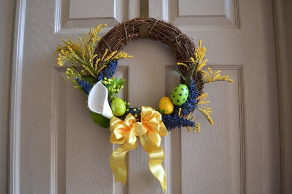 similar to Navy Blue, Grass Green and Gold Easter Wreath with Easter ...