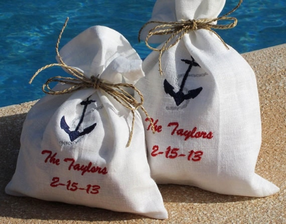 Wedding Gift Bags Etsy : Wedding Favor Bags - Nautical Gift Bags - Linen/Cotton Bags - Shower ...