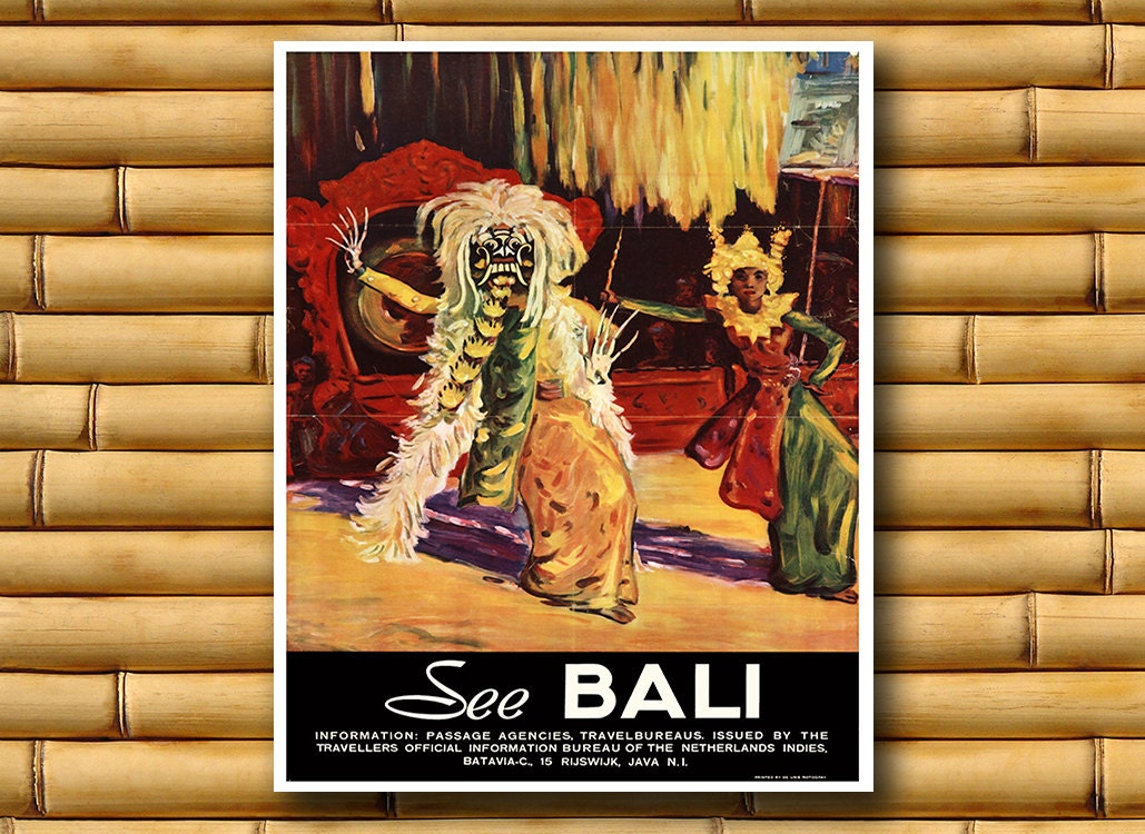 Art bali travel poster asian wall decor print ajt50 for Bali decoration accessories
