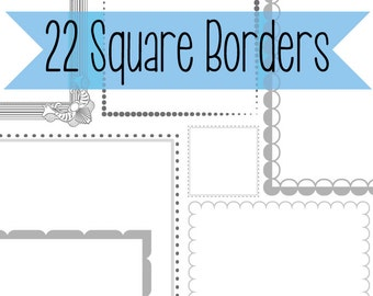 22 square frame borders with detail. Instant download