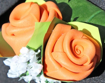 VALENTINE DAY! Orange Wedding Buttonhole - Rose Boutonniere, Wedding Accessories, Wedding Brooch, Groomsmen