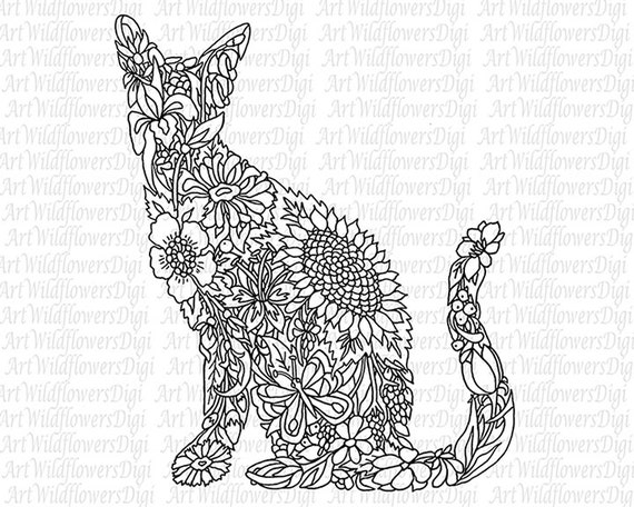 Coloring pages adults cat ~ Items similar to Cat Coloring Page - Digital Stamp ...
