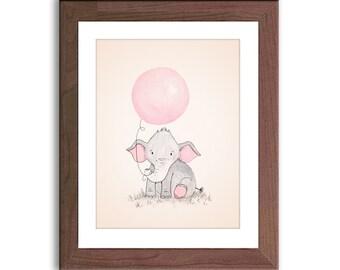 Baby Elephant Nursery Art - Elephant Holding Balloon - Elephant Illustration - Baby Girl Nursery Decor - Girl Nursery Art - E459