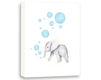 Watercolor Canvas Print - Nursery Art Boy - Elephant Nursery - Blue and Gray - Baby Elephant Art - Kids Wall Decor - Baby Boy Nursery - E569