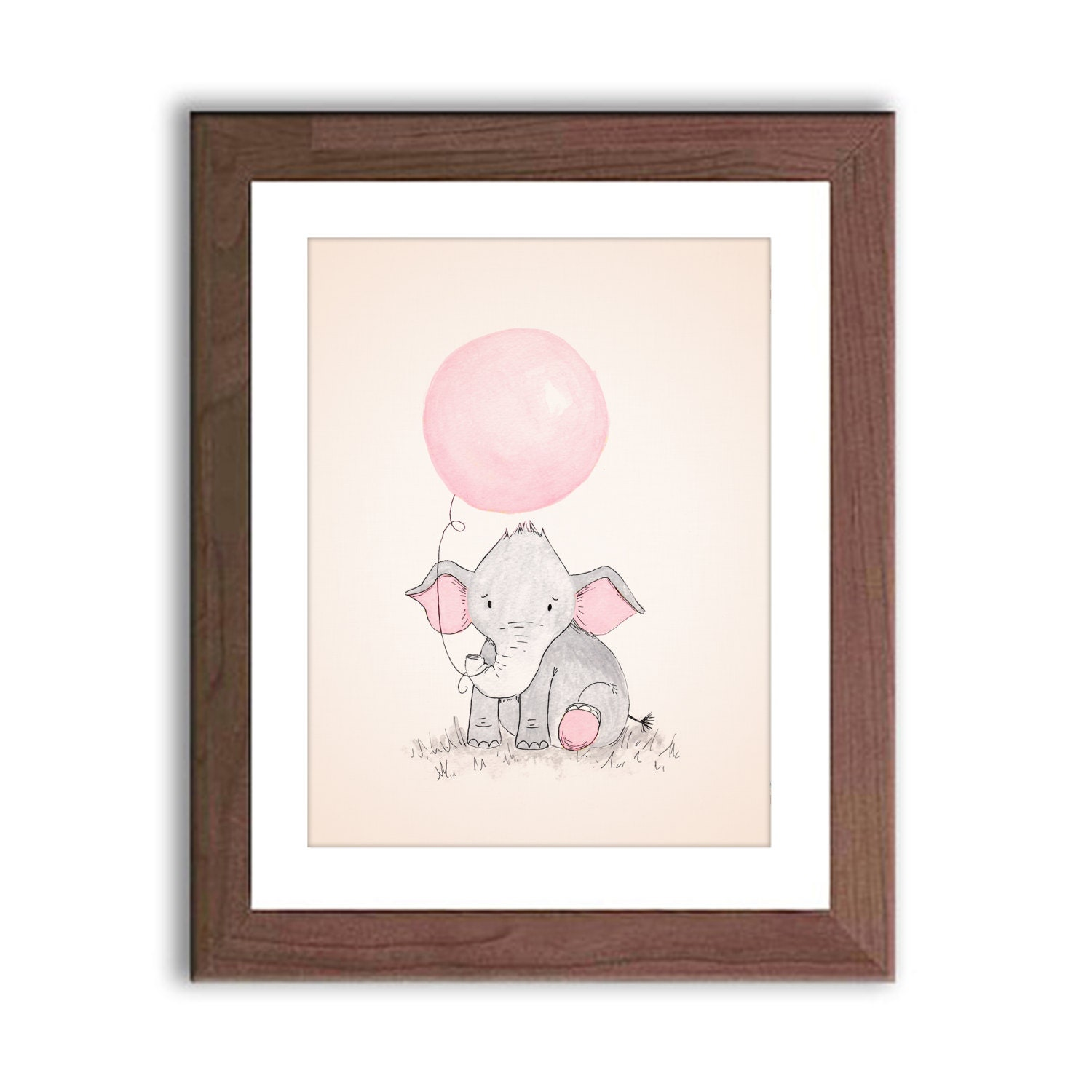 Framed Art Bathroom Baby Elephant Nursery Art Elephant Holding Balloon