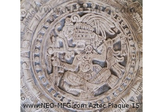 History Mayan Aztec Warrior Sculptural Wall Relief By