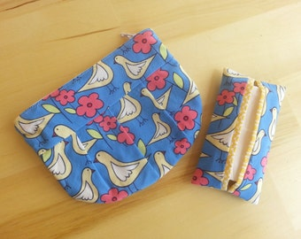 Small Pleated Zipper Pouch and Tissue Holder ~ Birds with Yellow Flower