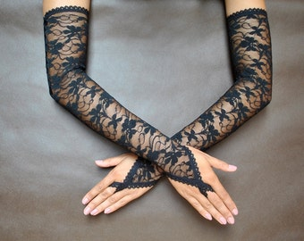 Elegant GOTHIC VAMPIRE Victorian Burlesque Evening Glamour extra long GLOVES black lace, goth fingerless mittens, New Year's Eve, prom