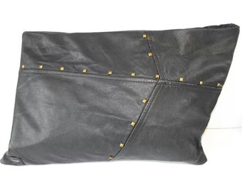 Handmade black leather large clutch bag with studs - FREE P&P in the UK