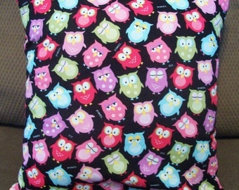 CLEARANCE! Adorable Owl Print Handmade DecorativeThrow Pilllow Cover 16 x 16