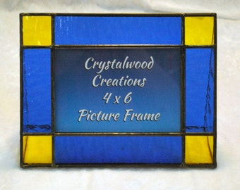 4 x 6 Inch Blue and YellowStained Glass Picture Frame