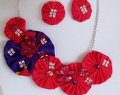 Red and Purple Fiber Art Statement Necklace with Matching Fiber Earrings Handmade Unique Jewelry