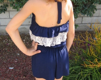 Girls Summer  Navy Blue Halter Romper with Ivory Crochet Ruffle, Girls Summer Romper, Girls Romper - Sizes 4/5, 6/6X, 7/8, 10-Ready to Ship