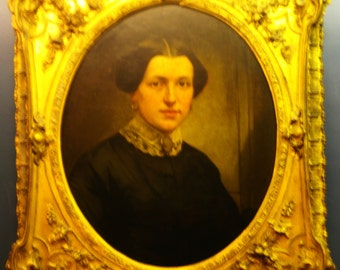 SALE - Victorian Portrait of Lady, Oil On Board in Exceptional Frame, Circa 1860-80