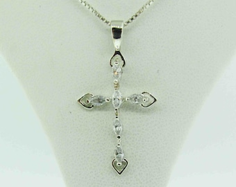 Vintage Sterling Silver necklace with cross pendant.