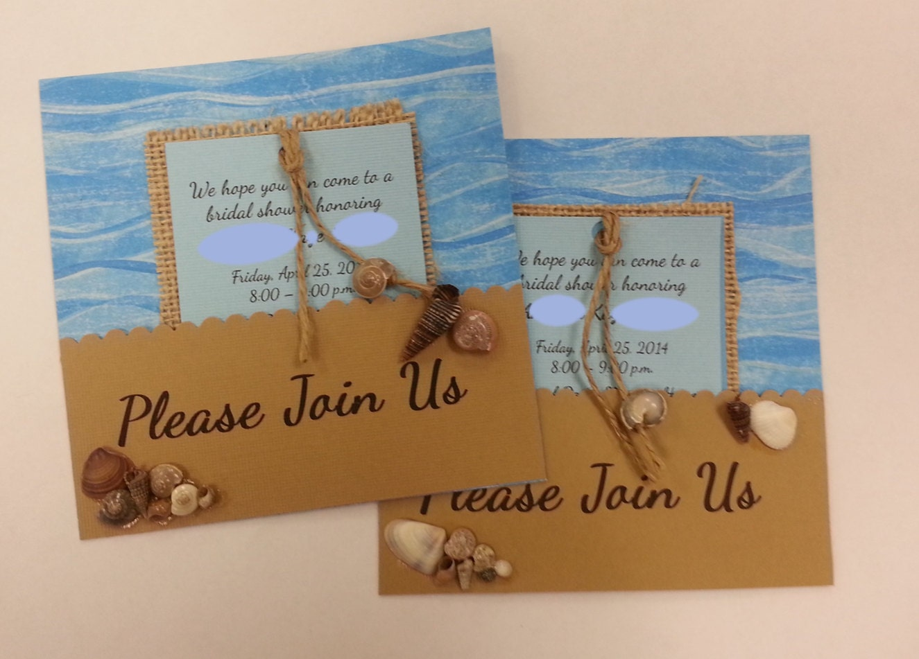 Invitations Bridal Shower Beach Theme Hand By BostonKissedCrafts