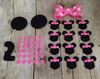 2 Tier Edible Fondant Minnie Mouse Inspired Cake Toppers