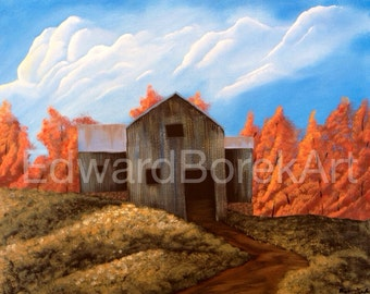 Old Autumn Barn acrylic painting
