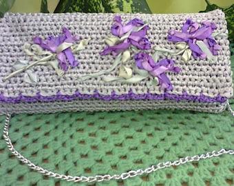 Handmade ladies bag,crochet satin ribbons, embroidered satin ribbons
