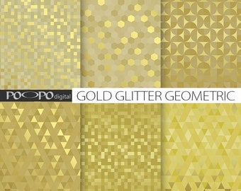 Gold glitter geometric digital paper, geometrical pattern, golden textures, gold digital papers, triangle, mosaic, squares, hexagon metallic