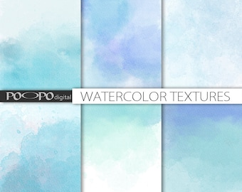 Blue watercolor digital paper watercolour hand painted paint ombre texture background scrapbook invites card making thank you baby shower