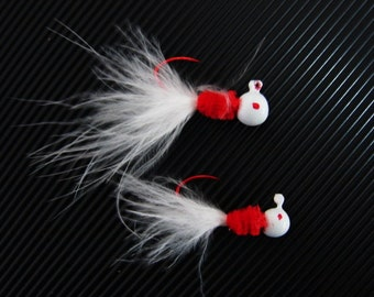 A White & Red Crappie Jig. Color #M-39 Red Eyed Radish