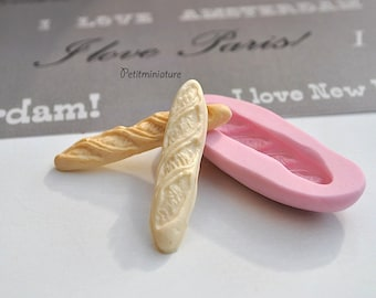 BREAD MOLD fimo ST014 baguette bakery flexible silicone mold polymer clay jewelry charms sweet dollhouse miniature food kawaii cabochon