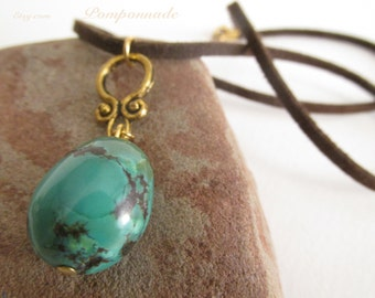 2442 - Pendant Turquoise, Suede Lace