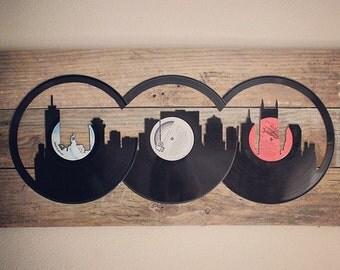 Nashville City Skyline Cutout with Wooden Background