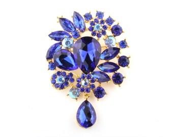55 x 76 mm Royal Blue Rhinestone Gold Brooch Drop Wedding Brooch Bouquet Bridal Bridesmaid gift Embellisment