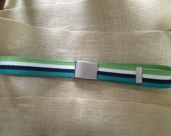 Green, White, Blue and Turquoise/Aqua Cotton Webbing Adjustable Belt Men's Belt, Women's Belt, Boys Belt, Girls Belt