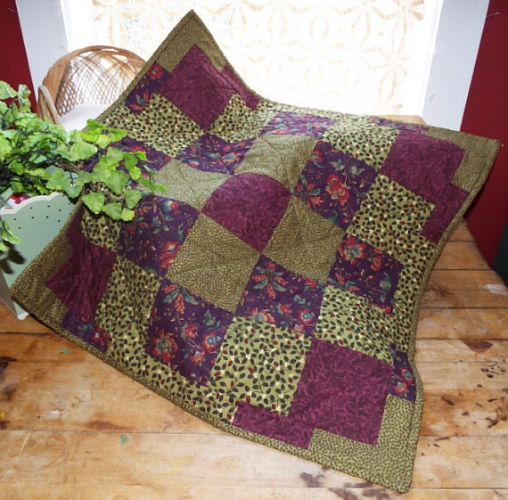 Red Wine and Olive Colonial Patchwork Doll Quilt