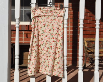 Girls and Toddlers Maxi Skirt-Cream with Small Floral Print