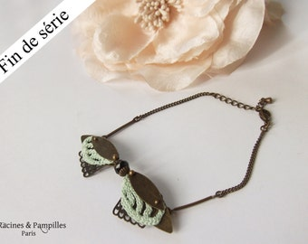 """Crochet Jewelry, """"Insect"""" bracelet, textile jewelry, opal green,Discontinued line, Nathalie Grelier Paris"""