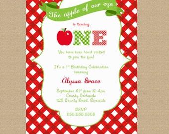 Apple Invitation - Apple of Our Eye Birthday Invitation - Printable