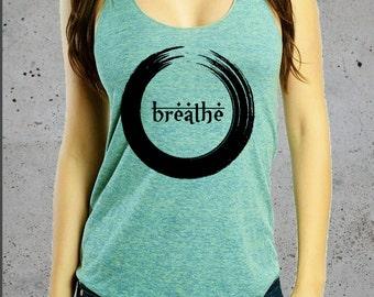 Breathe Shirt'__//Yoga Shirts,Yoga Tank Top,Womens Graphic Tees,Fitness Apparel(Yoga Clothes)~Gym pilates racerback,American Apparel Top