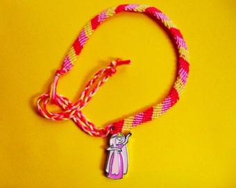 Adventure Time friendship bracelet with Princess Bubblegum charm Free UK Postage!