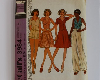 Vintage McCalls Sewing Pattern 3984, Mod 1970s Halter Top Ensemble, Size 14 Bust 36