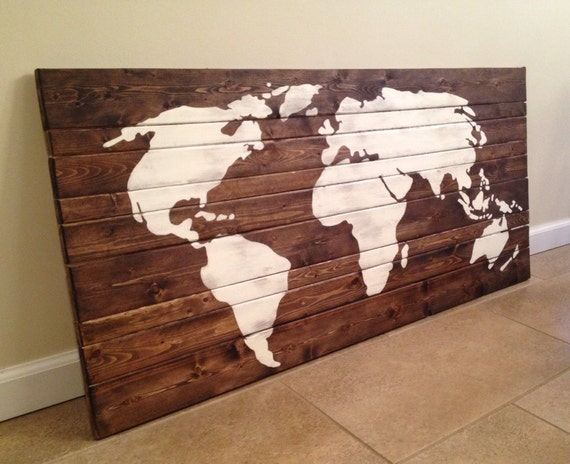 World Map Wood Wall Art By Mittenmadedesigns On Etsy