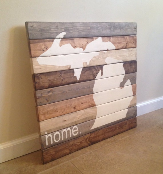 Home Decor Stores Michigan: Michigan Home Large Wood Wall Art